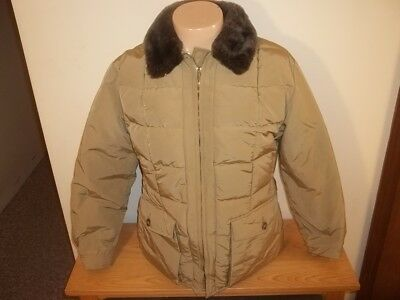 Vtg EDDIE BAUER PUFFY DOWN COAT JACKET With Fur Collar Size 18 Mens M?