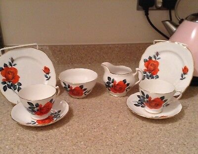 Royal Vale china. 2 trios,milk jug, sugar bowl.Patt no.8163