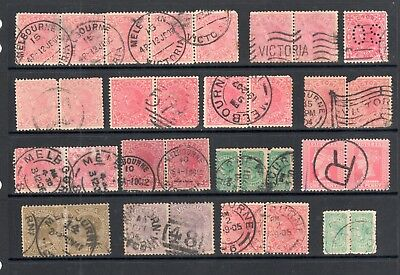 Victoria - Vic State Stamp Selection, Strips, Multiples, Unchecked, Fine/Used