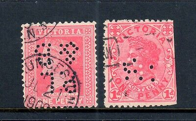 Victoria - 2 x VIC Private Perfins, Used