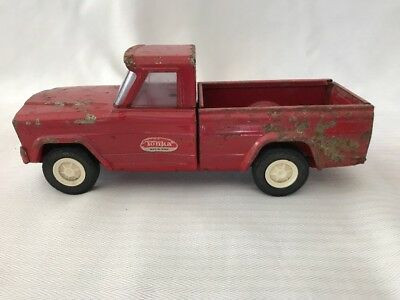 Vintage Tonka Red Jeep Pick Up Truck Drop Tailgate Hitch Pressed Steel