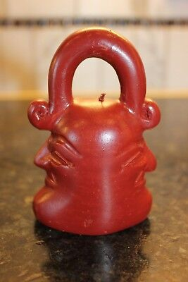 Vintage Two Face Earthy RED Clay Bell. Handmade in Indonesia. Interesting! Rare