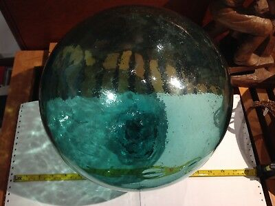 Glass fishing float - huge plug with an extra patch of glass on side of float