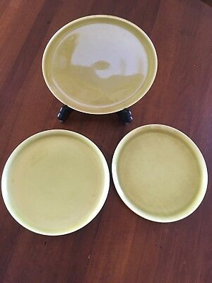 "3 Russel Wright  Steubenville Chartreuse Green American Modern 10"" Dinner Plates"