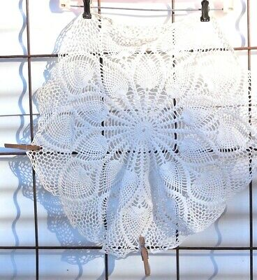 """Vintage Hand Crocheted 20"""" Round Table Furniture Scarf Cover, Spades  FREE SHIP"""