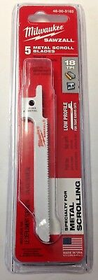 "Milwaukee 48-00-5163 3-5/8"" x 18 TPI Sawzall Metal Scroll Blades 5 Pack USA"