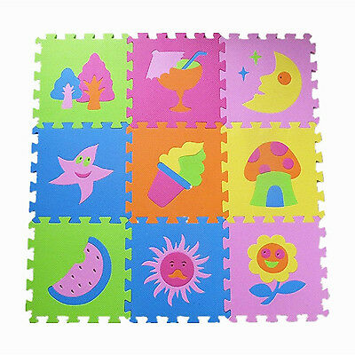 Baby Play Mat Foam Floor Puzzle 9 Tiles Toddler Activity Gym Kids Playmat Toy