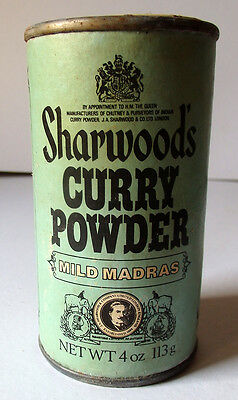 Dose, vintage, Sharwoods Curry Powder mild, Mintgrün