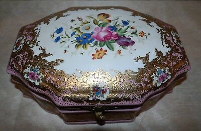 Sevres Design Hand Painted Porcelain Jewelry Box