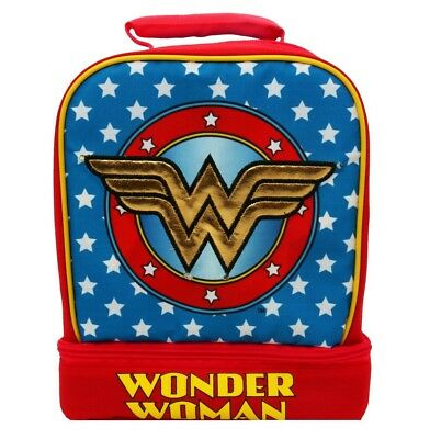 WONDER WOMAN DC Light-Up Lead-Free Dual-Chamber Lunch Tote Bag Box w/ Lights NWT
