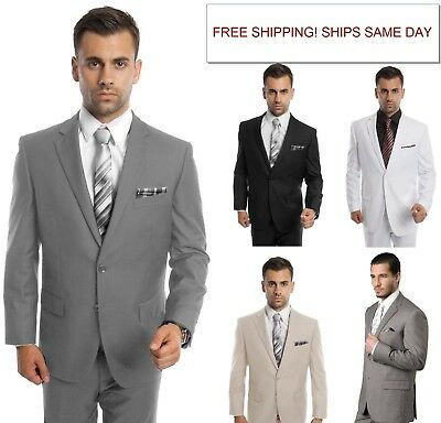 Men's Modern Fit Suit Two Button Solid Formal Two Piece Jacket Business Suits