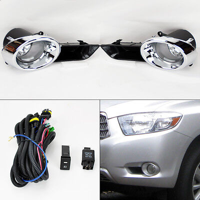 Toyota Highlander 08-10 Front Bumper Chrome Fog Lights Kit & Wiring Switch Pair