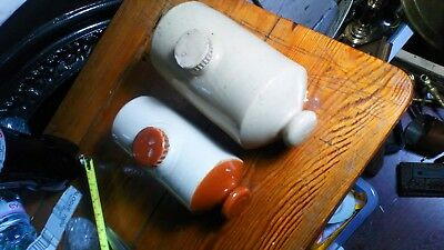 Pearsons Chesterfield Vintage Stoneware Hot Water Bottle Foot Warmer + One Other