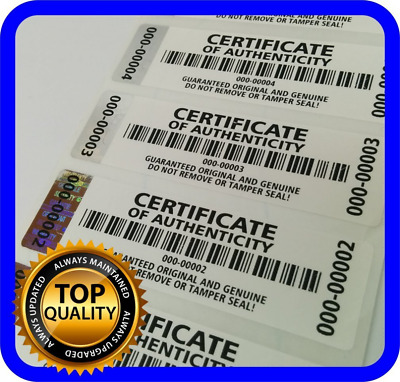 250 pcs Certificate of Authenticity Labels Security Stickers with Hologram Strip