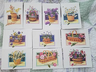 Longaberger Blank Notecards 10 w/Envelopes-Floral/Daisy/Pansy/Roses/Snapdragons