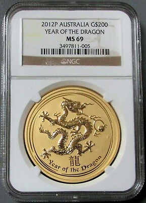 2012 P Gold Australia 2 Oz $200 Lunar Year Of The Dragon Ngc Mint State 69