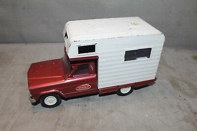 Vintage Tonka Truck Camper 1960's Red Jeep Willys J10