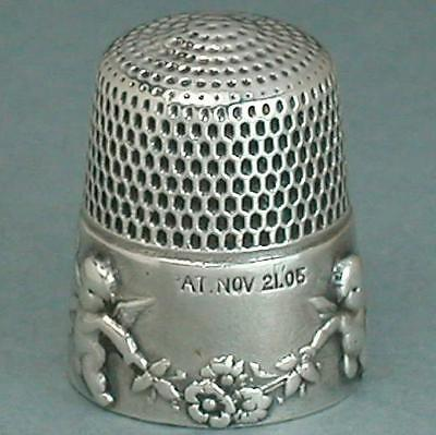 Antique Sterling Silver Cupids Thimble by Simons Brothers * 1905 Patent Date