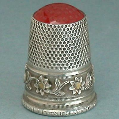 Antique German Stone Top Silver Thimble From Edwin Holmes Collection * C1900s