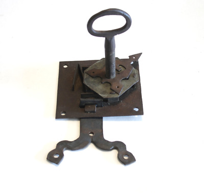 Antique Hand Forged Iron LARGE Lock and Key