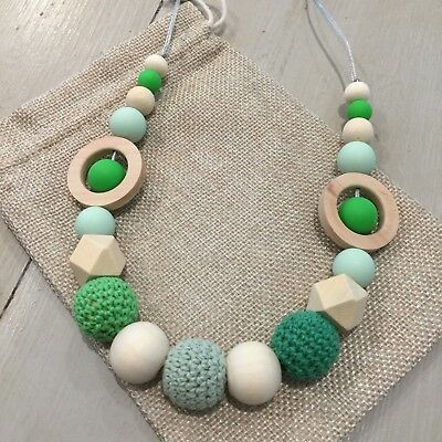 Natural Wood & BPA Free Silicone Nursing Teething Necklace, 80cm Hand Made Green