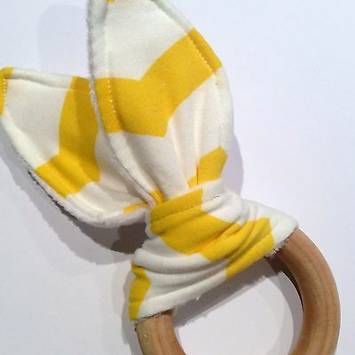 Natural Wood Crinkle Sound Bunny Ears Teething Ring Toy, Yellow and White