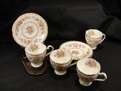 "Vintage A.B.J. Grafton China England ""Malvern"" 4 Tea Cups and Saucers Roses"