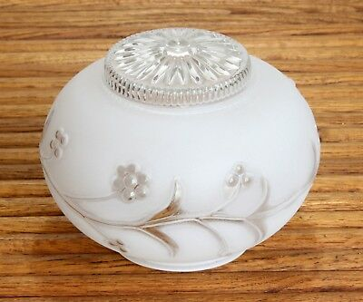 Vintage Ceiling/Sconce Light Fixture Shade Frosted & Clear Glass Floral Design