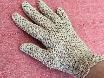 Vintage Ladies' Hand Crochet Ecru Cotton Lace Gloves - Womens Medium Large Size