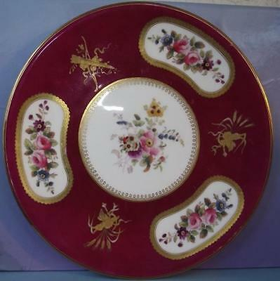 English Antique Bonechina Staffordshire Plates Hand Painted Brown Westhead Moore