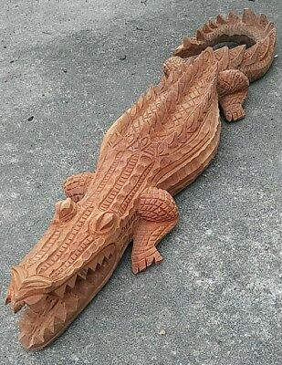 Cool Hand Carved Wood Alligator Crocodile Scales Curved Tail  29""
