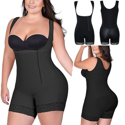 US Womens Zip Full Body Shaper Tummy Control Shapewear Bodysui Plus Size XL-6XL