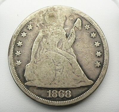 1868 Seated Liberty Silver Dollar Holed & Plugged - NO RESERVE!