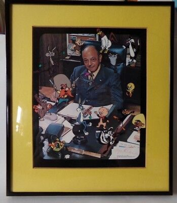 Warner Brothers Mel Blanc Looney Tunes Autographed Picture 1978 FRAMED 11 X 13