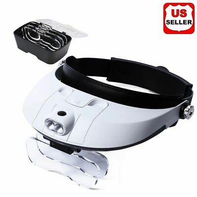 Magnifying Glass Lens LED Light Visor Head Loupe Jeweler Craft Hobby Magnifier A