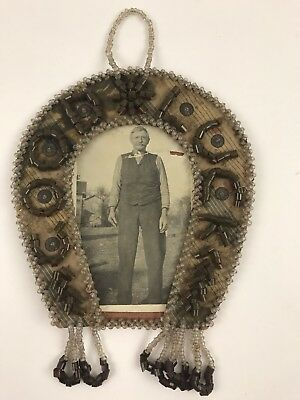 Vintage Iroquois Native American Beaded Picture Frame Horse Shoe Good Luck