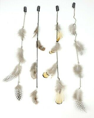 """12 pcs 14"""" Long Feather & Chain Hair Extension w/Clip On Comb Assorted HH0004"""