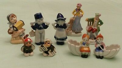 Made in Occupied Japan Dutch Bug Lady Musician Figurines Porcelain 11 Lot Great