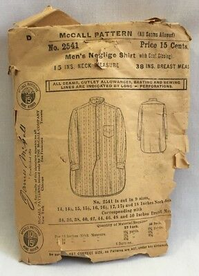 "RARE! Edwardian 1908 McCALL SEWING PATTERN #2541 Mens Neglige Shirt 15"" neck2280"