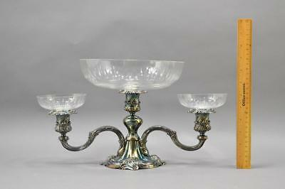 Reed And Barton 164 Silver Plate Epergne With Crystal Glass Inserts No Reserve