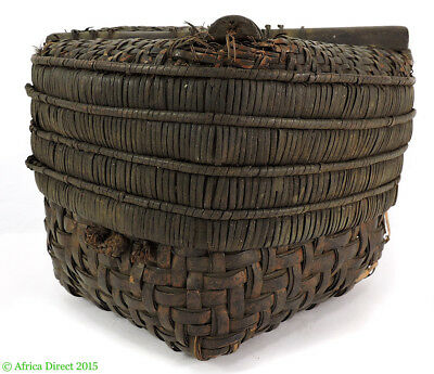 Kuba Basket Lidded Cube Brown Handwoven Congo African Art