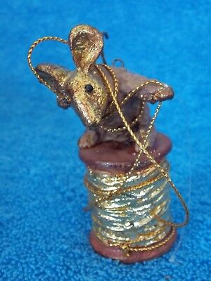 Vintage Dept 56  Pine Cone Mouse On Gold Spool Of Thread Christmas Ornament