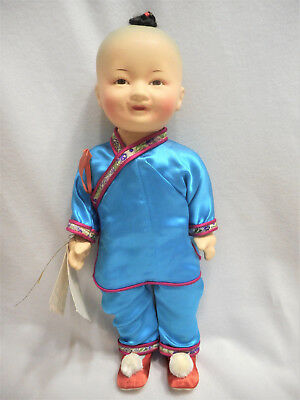 Chinese / Asian Boy Doll W/ Silk Clothes Vintage / Antique  Composition Adorable
