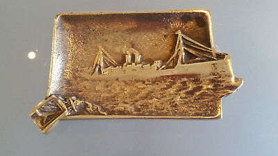 Antique Ashtray With A Nautical Theme.   Solid Brass, Note Anchor In Cig' Rest.