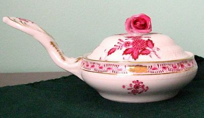 Herend Porcelain Apponyi Flowers Small Pot with Lid and Handle