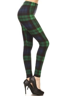 St Patrick's Day Green & Navy Plaid Buttery Soft Leggings