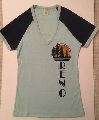 VTG 1980s RENO Nevada Tee Womens V Neck S/S Light Blue Navy T Shirt Size L M