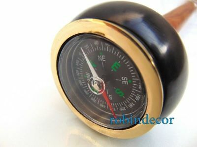 Maritime Black Color Compass W/Nautical Solid Brass Polish Walking Stick cane