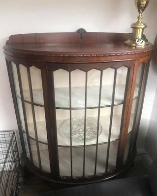 Bow Front Vintage Antique China Display Cabinet