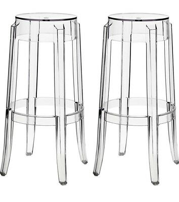 Original Kartell Tall Charles Ghost Stool X 2 RRP $450 Each. Sale Price Is For 2
